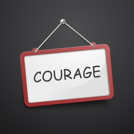 fortitude: courage hanging sign isolated on black wall