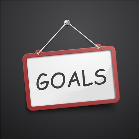 goal setting: goals hanging sign isolated on black wall Illustration