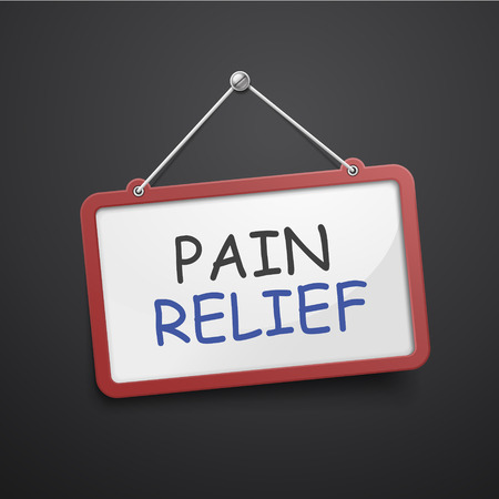 pain killers: pain relief hanging sign isolated on black wall