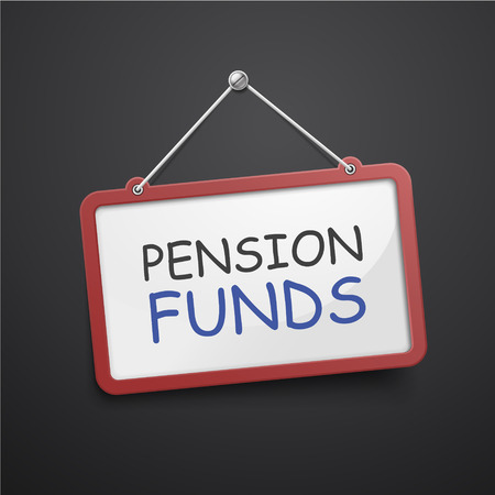 pension: pension funds hanging sign isolated on black wall Illustration