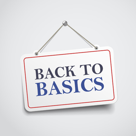 elemental: back to basics hanging sign isolated on white wall