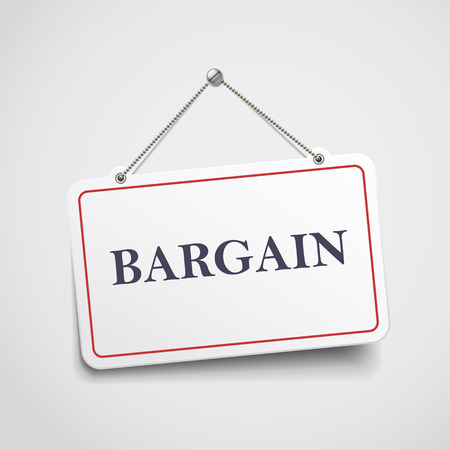 bargain: bargain hanging sign isolated on white wall
