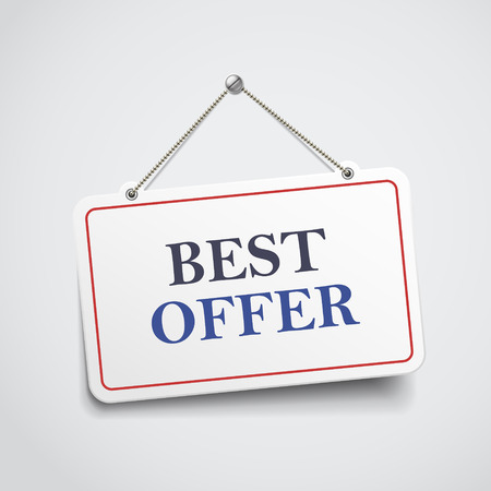 best ad: best offer hanging sign isolated on white wall