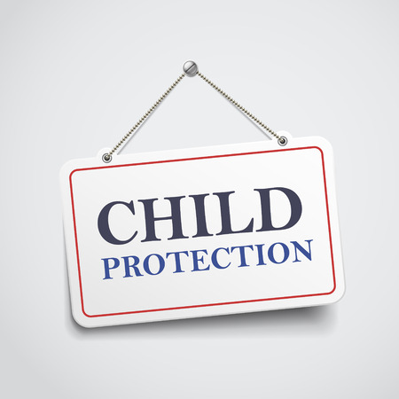 child protection: child protection hanging sign isolated on white wall