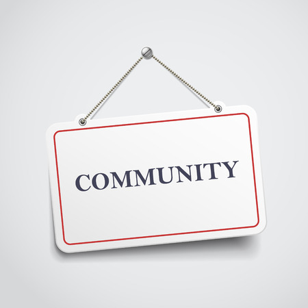altogether: community hanging sign isolated on white wall