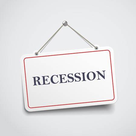 recession hanging sign isolated on white wall