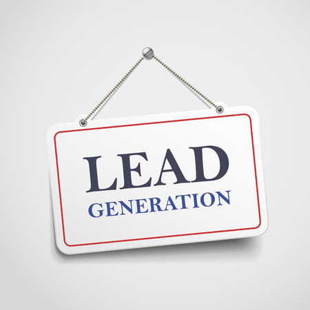 lead generation hanging sign isolated on white wall