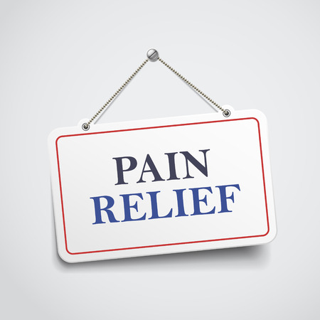 pain killers: pain relief hanging sign isolated on white wall