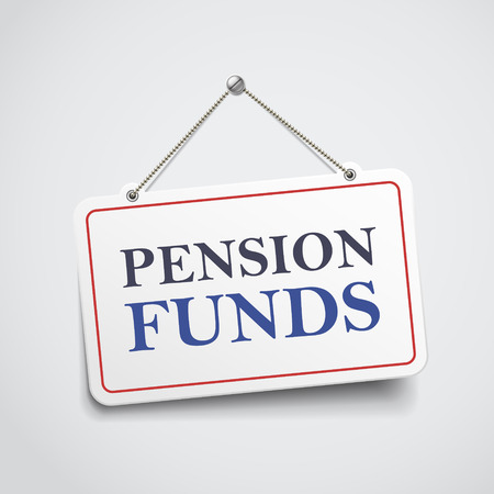 retirement savings: pension funds hanging sign isolated on white wall Illustration