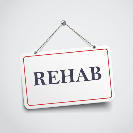regiment: rehab hanging sign isolated on white wall Illustration