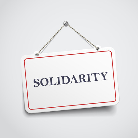 consolidation: solidarity hanging sign isolated on white wall Illustration