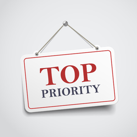 crucial: top priority hanging sign isolated on white wall
