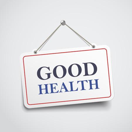 buena postura: buena señal de salud colgante aislado en la pared blanca Vectores