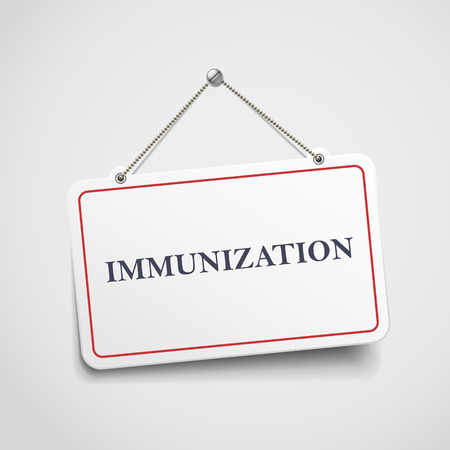 carcinogen: immunization hanging sign isolated on white wall Illustration