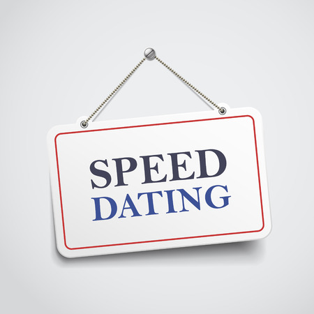 internet dating: speed dating hanging sign isolated on white wall