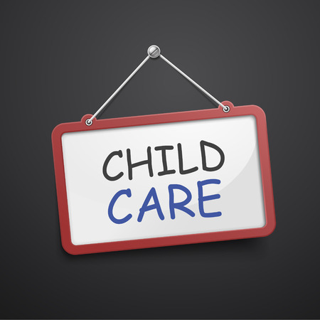 the infancy: child care hanging sign isolated on black wall Illustration