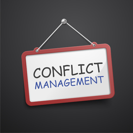 oppose: conflict management hanging sign isolated on black wall