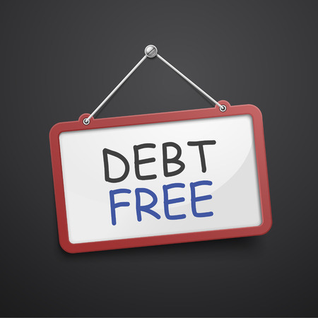 debt collection: debt free hanging sign isolated on black wall