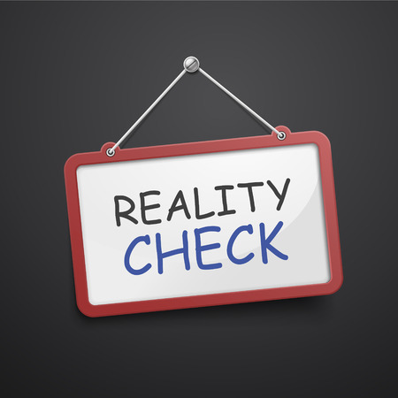 skeptical: reality check hanging sign isolated on black wall