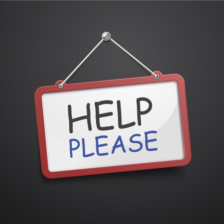 help wanted sign: help please hanging sign isolated on black wall Illustration