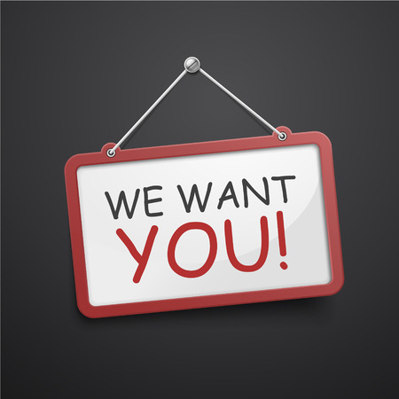 find staff: we want you hanging sign isolated on white wall Illustration