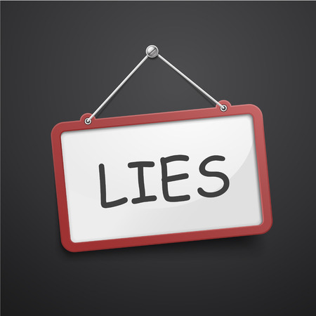 conman: lies hanging sign isolated on black wall