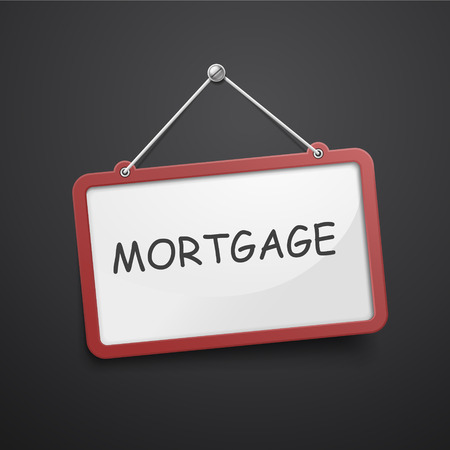 considerations: mortgage hanging sign isolated on black wall