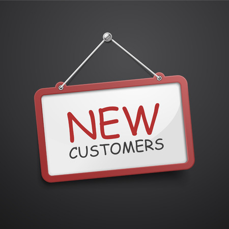 b2c: new customers hanging sign isolated on black wall