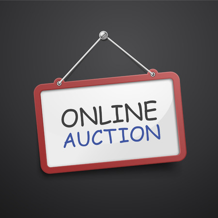 e auction: online auction hanging sign isolated on black wall