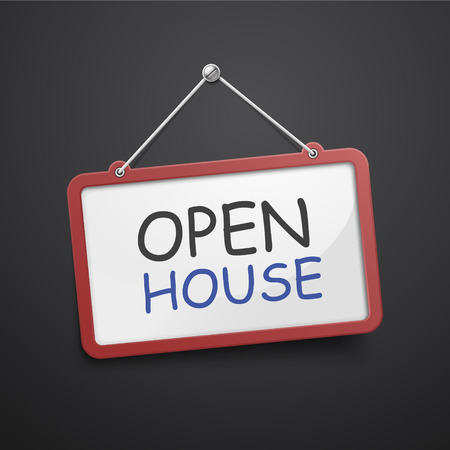 open house: open house hanging sign isolated on black wall