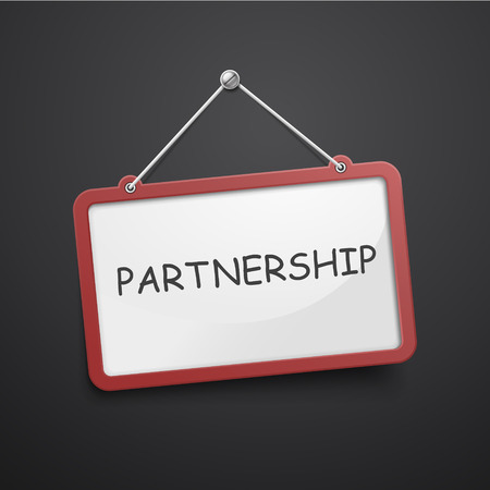 partnership hanging sign isolated on black wall