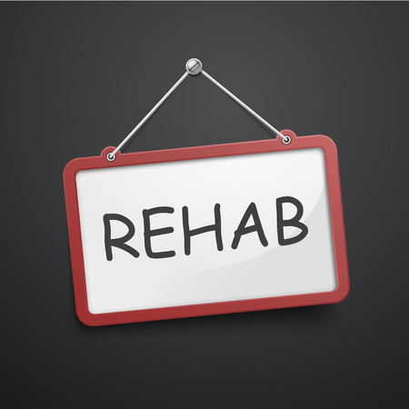 physical therapist: rehab hanging sign isolated on black wall