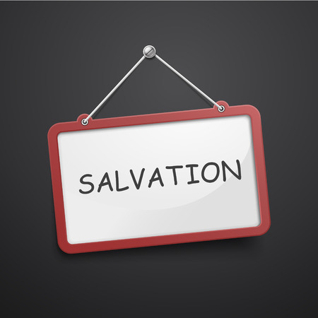 salvation: salvation hanging sign isolated on black wall Illustration