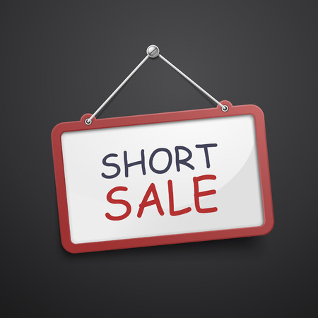 foreclosure: short sale hanging sign isolated on black wall Illustration
