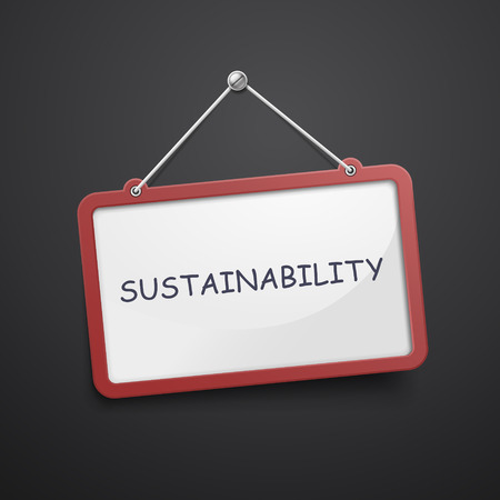 relate: sustainability hanging sign isolated on black wall