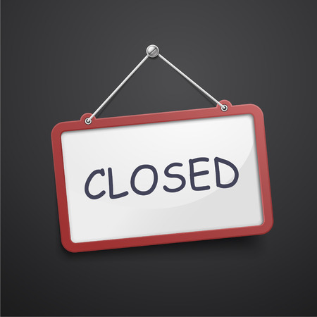 closed sign: closed hanging sign isolated on black wall