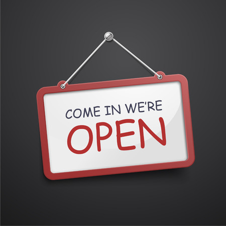 come in: come in we are open hanging sign isolated on black wall Illustration