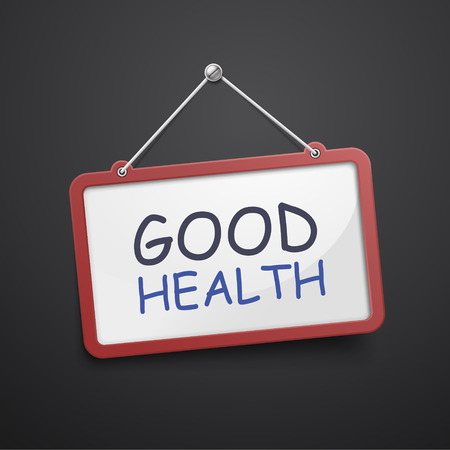 eating habits: good health hanging sign isolated on black wall Illustration
