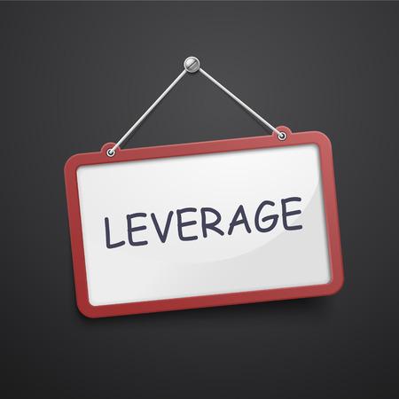 leverage: apalancamiento colgando signo aislado en el muro negro Vectores