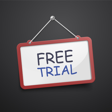 free trial hanging sign isolated on black wall Illustration