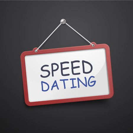 speed dating: speed dating hanging sign isolated on black wall Illustration