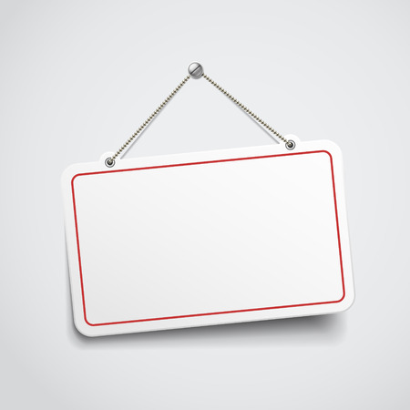 message board: blank hanging sign