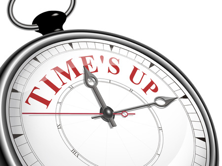 time is up concept clock isolated on white background Vector