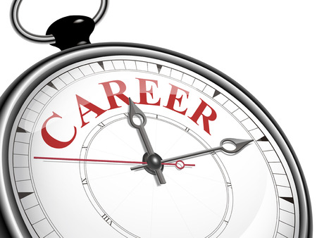 hired: career concept clock isolated on white background