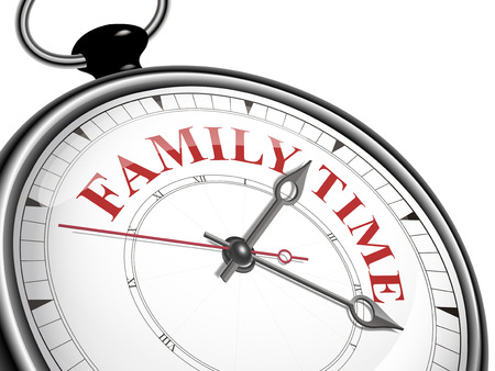 family isolated: family time concept clock isolated on white background Illustration