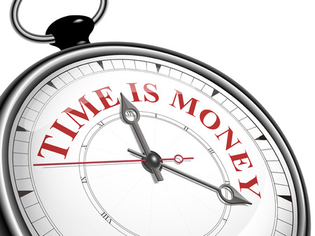 time money: time is money concept clock isolated on white background Illustration
