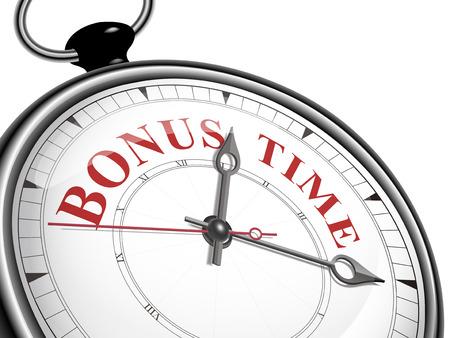bonus: bonus time concept clock isolated on white background Illustration
