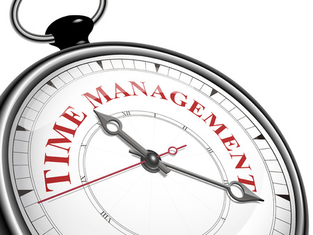 time management concept clock isolated on white background Çizim