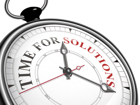 tijd voor oplossingen concept van de klok op een witte achtergrond