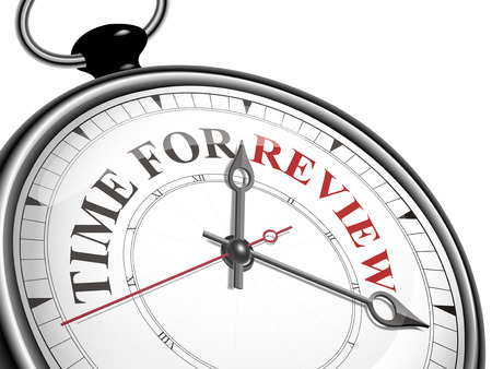 白い背景で隔離のレビュー コンセプトの時計のための時間  イラスト・ベクター素材